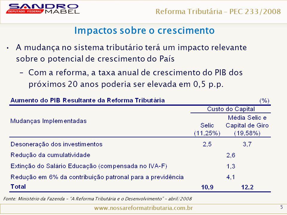 """5 Reforma Tributária – PEC 233/2008 Impactos sobre o crescimento www.nossareformatributaria.com.br Fonte: Ministério da Fazenda – """"A Reforma Tributári"""