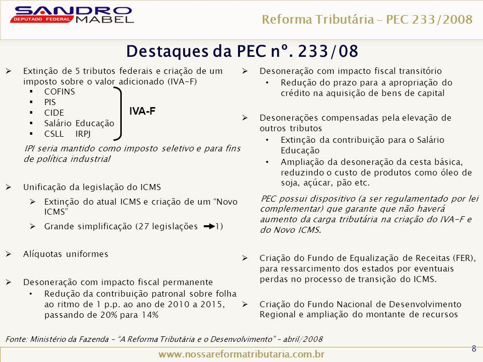 8 Reforma Tributária – PEC 233/2008 www.nossareformatributaria.com.br  Extinção de 5 tributos federais e criação de um imposto sobre o valor adiciona