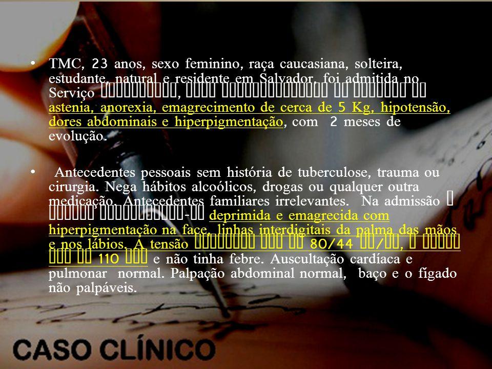 •TMC, 23 anos, sexo feminino, raça caucasiana, solteira, estudante, natural e residente em Salvador, foi admitida no Serviço Hospitalar, para esclarecimento de queixas de astenia, anorexia, emagrecimento de cerca de 5 Kg, hipotensão, dores abdominais e hiperpigmentação, com 2 meses de evolução.