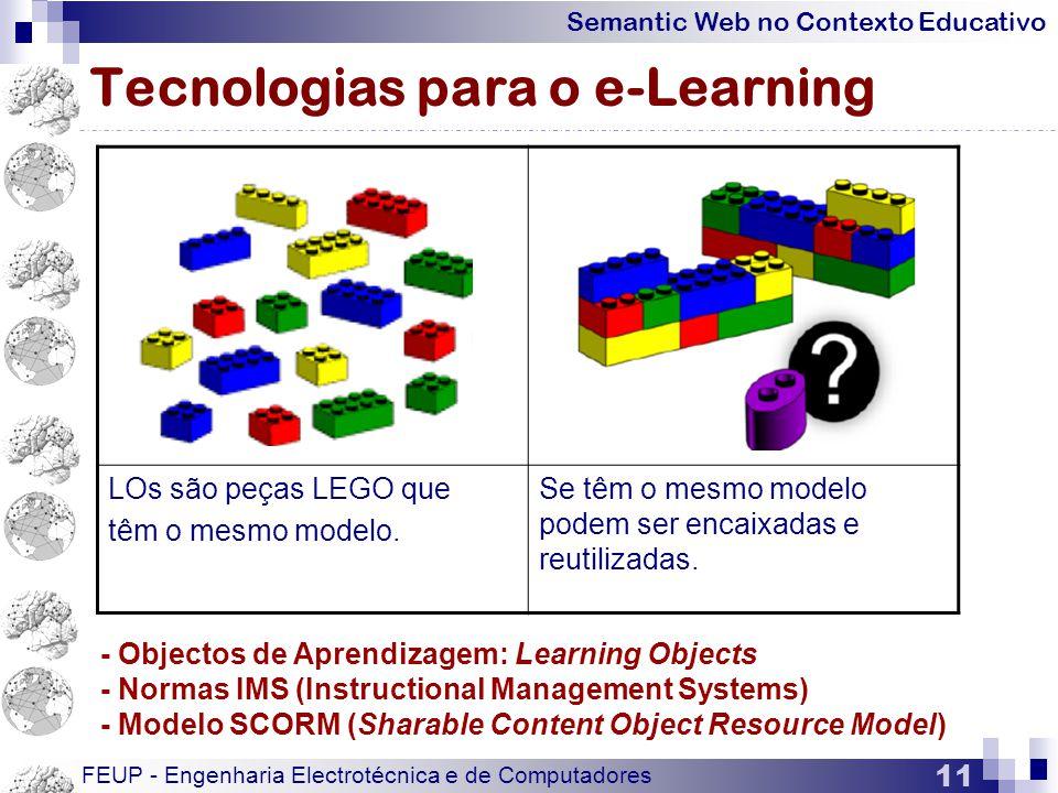 Semantic Web no Contexto Educativo FEUP - Engenharia Electrotécnica e de Computadores 11 Tecnologias para o e-Learning LOs são peças LEGO que têm o mesmo modelo.