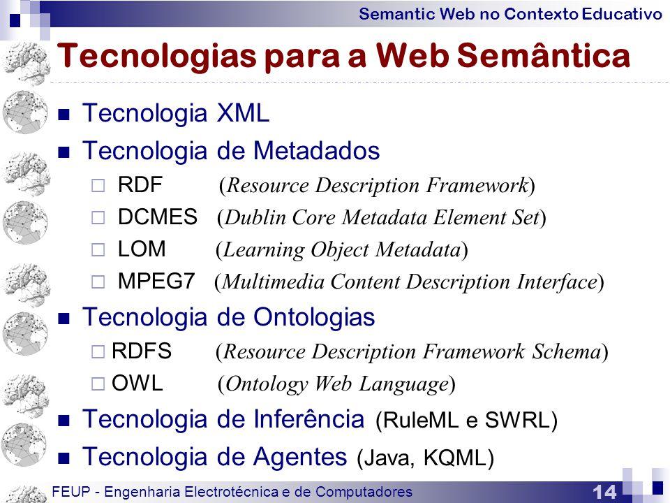 Semantic Web no Contexto Educativo FEUP - Engenharia Electrotécnica e de Computadores 14 Tecnologias para a Web Semântica  Tecnologia XML  Tecnologia de Metadados  RDF (Resource Description Framework)  DCMES (Dublin Core Metadata Element Set)  LOM (Learning Object Metadata)  MPEG7 (Multimedia Content Description Interface)  Tecnologia de Ontologias  RDFS (Resource Description Framework Schema)  OWL (Ontology Web Language)  Tecnologia de Inferência (RuleML e SWRL)  Tecnologia de Agentes (Java, KQML)