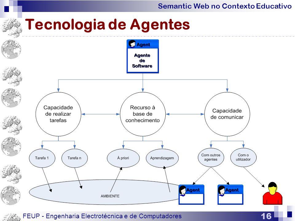 Semantic Web no Contexto Educativo FEUP - Engenharia Electrotécnica e de Computadores 16 Tecnologia de Agentes