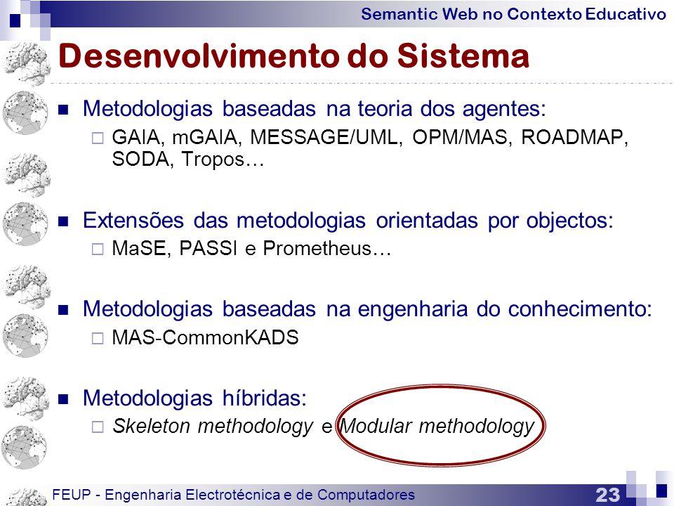 Semantic Web no Contexto Educativo FEUP - Engenharia Electrotécnica e de Computadores 23 Desenvolvimento do Sistema  Metodologias baseadas na teoria dos agentes:  GAIA, mGAIA, MESSAGE/UML, OPM/MAS, ROADMAP, SODA, Tropos…  Extensões das metodologias orientadas por objectos:  MaSE, PASSI e Prometheus…  Metodologias baseadas na engenharia do conhecimento:  MAS-CommonKADS  Metodologias híbridas:  Skeleton methodology e Modular methodology