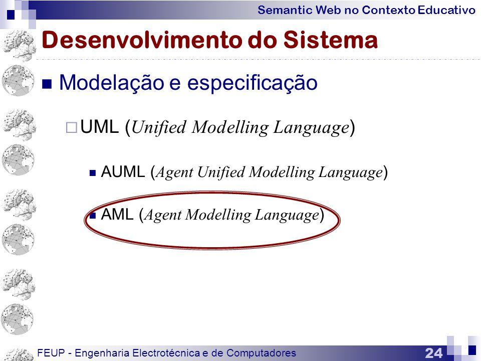 Semantic Web no Contexto Educativo FEUP - Engenharia Electrotécnica e de Computadores 24 Desenvolvimento do Sistema  Modelação e especificação  UML ( Unified Modelling Language )  AUML ( Agent Unified Modelling Language )  AML ( Agent Modelling Language )