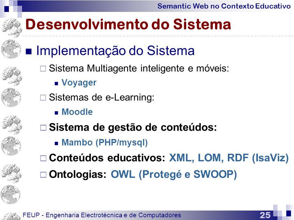 Semantic Web no Contexto Educativo FEUP - Engenharia Electrotécnica e de Computadores 25 Desenvolvimento do Sistema  Implementação do Sistema  Sistema Multiagente inteligente e móveis:  Voyager  Sistemas de e-Learning:  Moodle  Sistema de gestão de conteúdos:  Mambo (PHP/mysql)  Conteúdos educativos: XML, LOM, RDF (IsaViz)  Ontologias: OWL (Protegé e SWOOP)