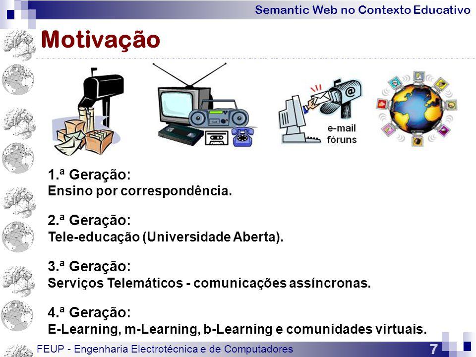 Semantic Web no Contexto Educativo FEUP - Engenharia Electrotécnica e de Computadores 7 Motivação 1.ª Geração: Ensino por correspondência.
