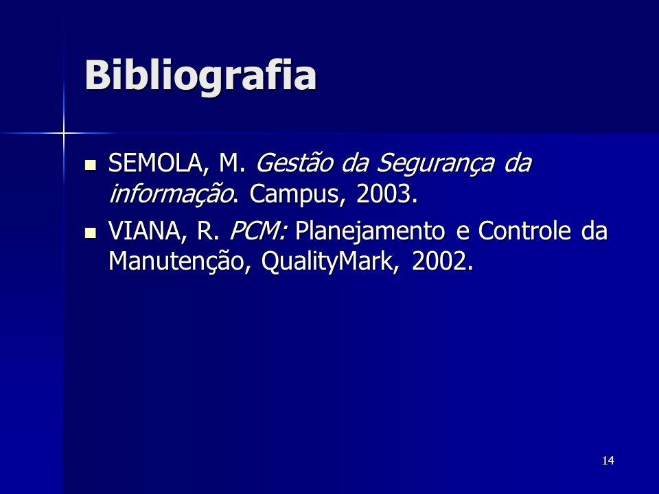 14 Bibliografia  SEMOLA, M. Gestão da Segurança da informação. Campus, 2003.  VIANA, R. PCM: Planejamento e Controle da Manutenção, QualityMark, 200