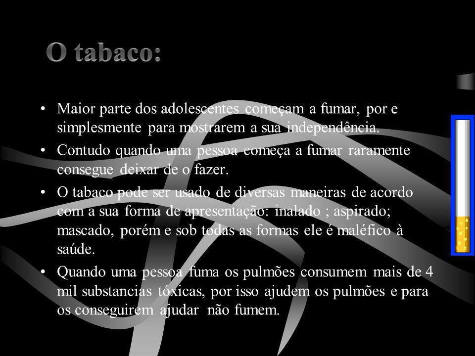 •Maior parte dos adolescentes começam a fumar, por e simplesmente para mostrarem a sua independência. •Contudo quando uma pessoa começa a fumar rarame