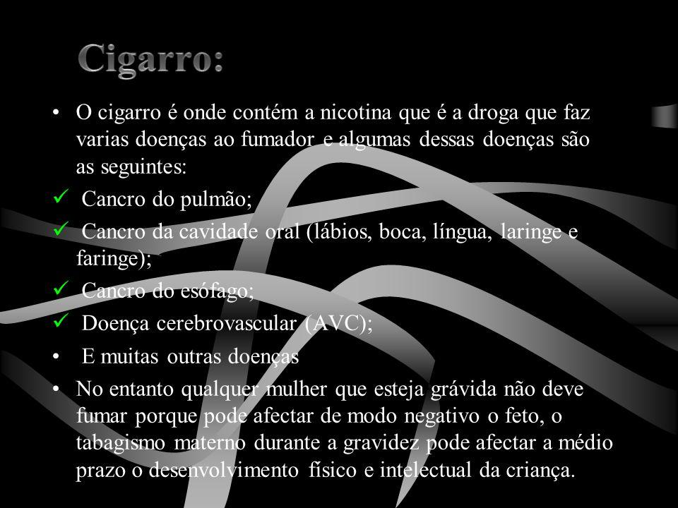 •O cigarro é onde contém a nicotina que é a droga que faz varias doenças ao fumador e algumas dessas doenças são as seguintes:  Cancro do pulmão;  C