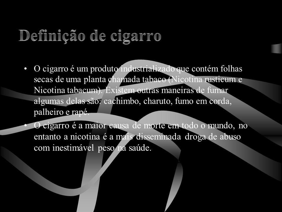 •O cigarro é um produto industrializado que contém folhas secas de uma planta chamada tabaco (Nicotina rusticum e Nicotina tabacum). Existem outras ma