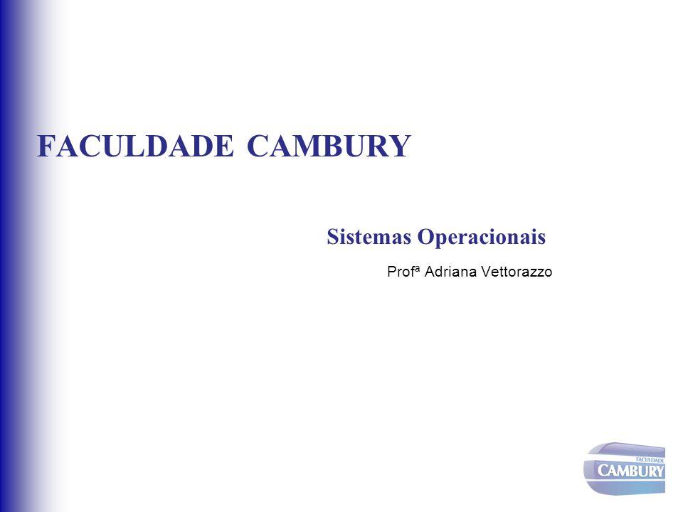 FACULDADE CAMBURY Sistemas Operacionais Profª Adriana Vettorazzo