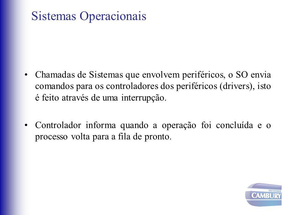 Sistemas Operacionais •Chamadas de Sistemas que envolvem periféricos, o SO envia comandos para os controladores dos periféricos (drivers), isto é feit