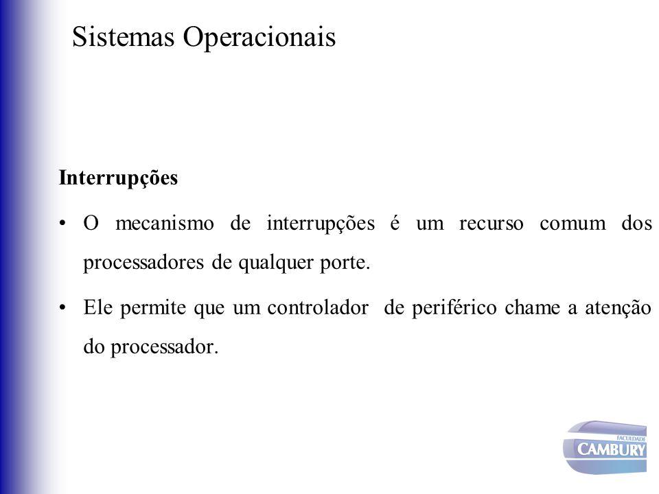 Sistemas Operacionais Interrupções •O mecanismo de interrupções é um recurso comum dos processadores de qualquer porte. •Ele permite que um controlado