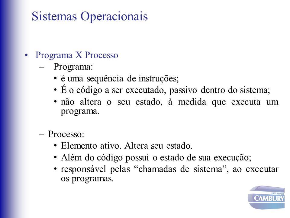 Sistemas Operacionais •Programa X Processo –Programa: • é uma sequência de instruções; • É o código a ser executado, passivo dentro do sistema; • não