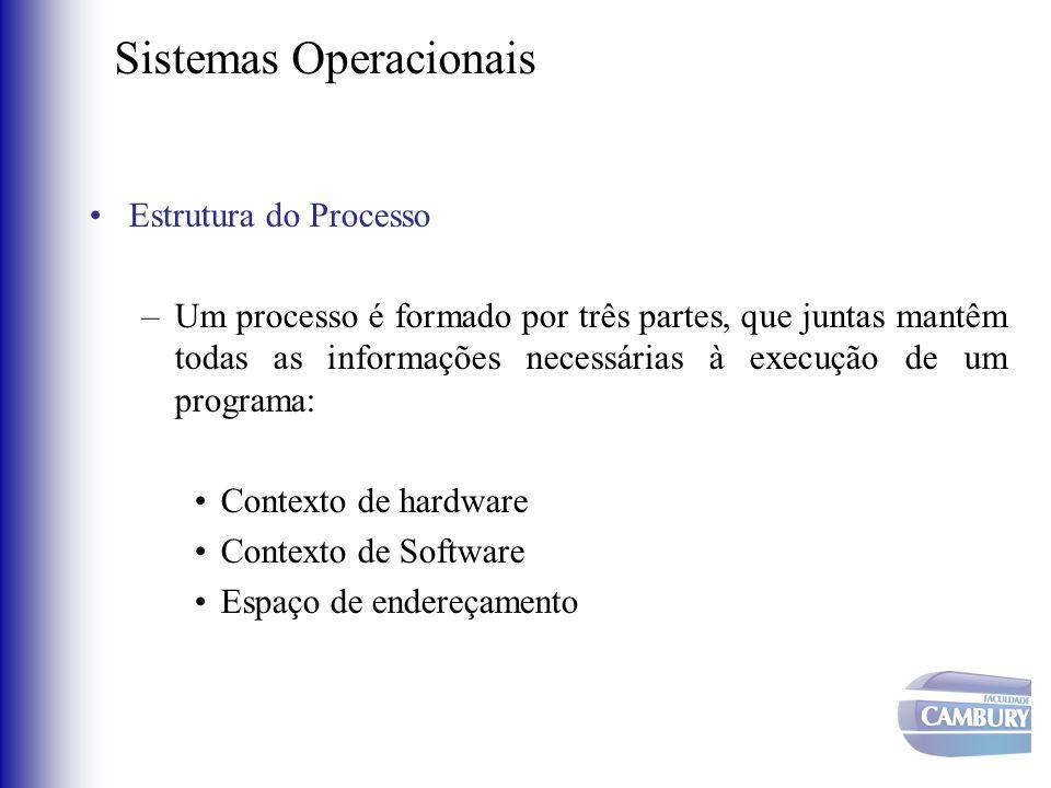 Sistemas Operacionais •Estrutura do Processo –Um processo é formado por três partes, que juntas mantêm todas as informações necessárias à execução de