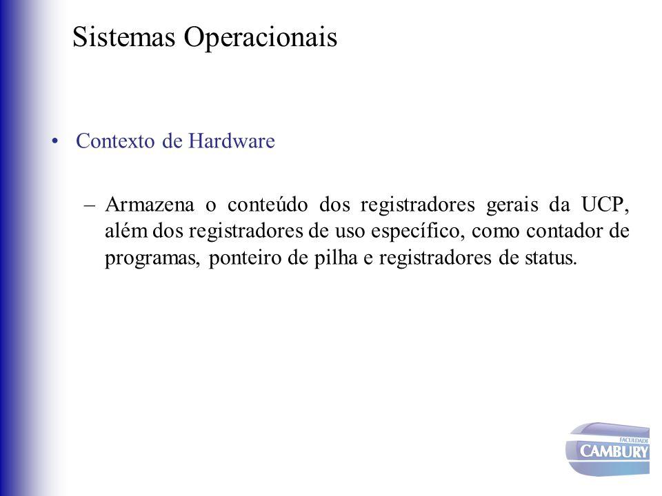 Sistemas Operacionais •Contexto de Hardware –Armazena o conteúdo dos registradores gerais da UCP, além dos registradores de uso específico, como conta