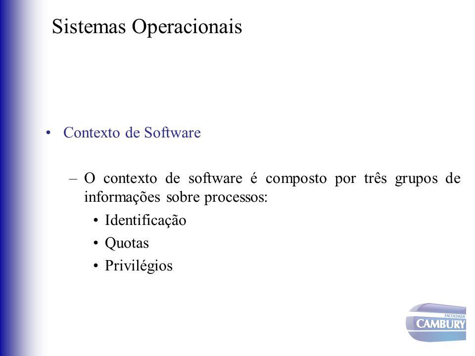 Sistemas Operacionais •Contexto de Software –O contexto de software é composto por três grupos de informações sobre processos: •Identificação •Quotas