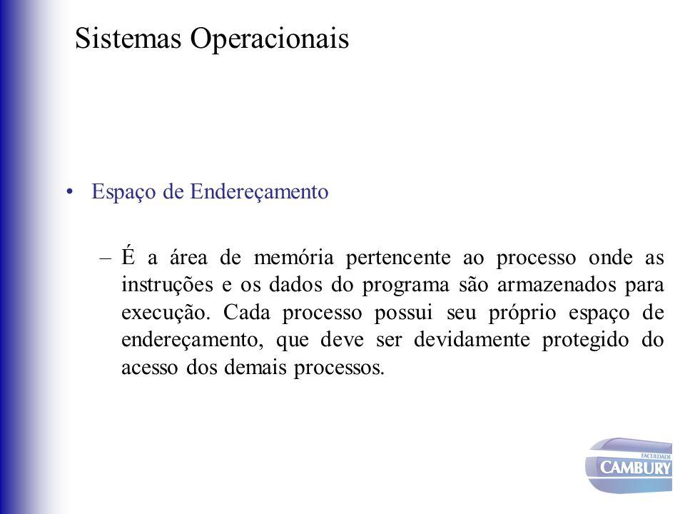 Sistemas Operacionais •Espaço de Endereçamento –É a área de memória pertencente ao processo onde as instruções e os dados do programa são armazenados