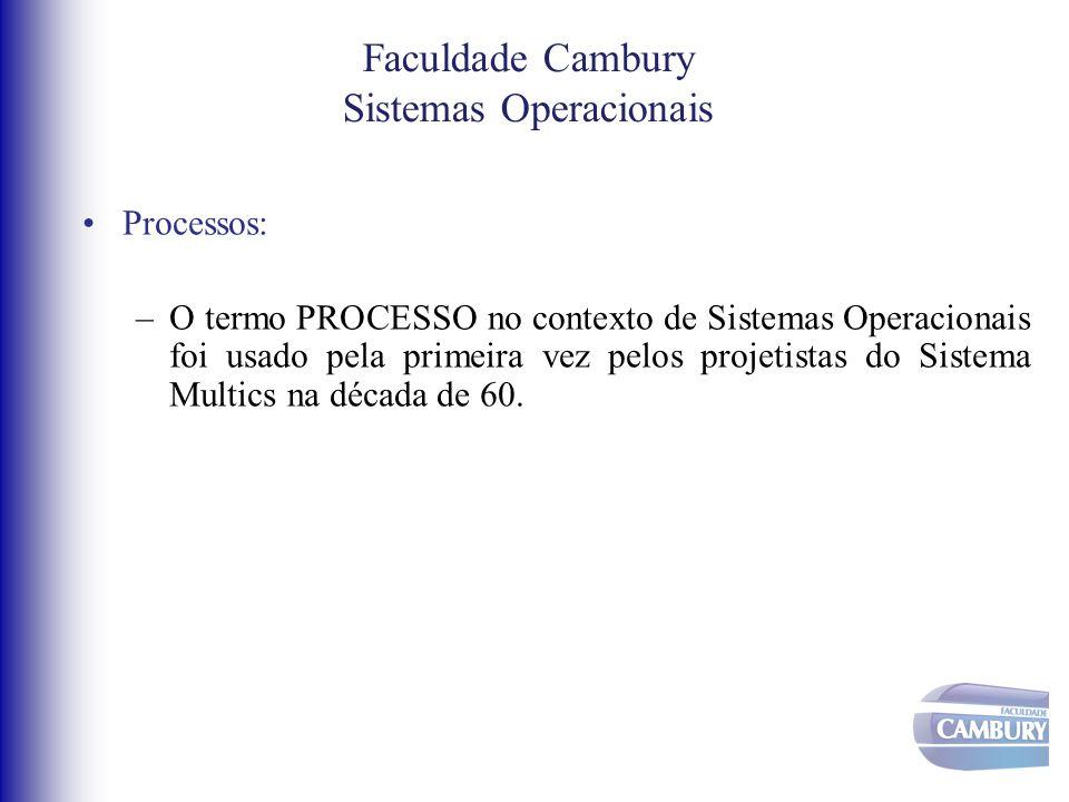 •Processos: –O termo PROCESSO no contexto de Sistemas Operacionais foi usado pela primeira vez pelos projetistas do Sistema Multics na década de 60. F