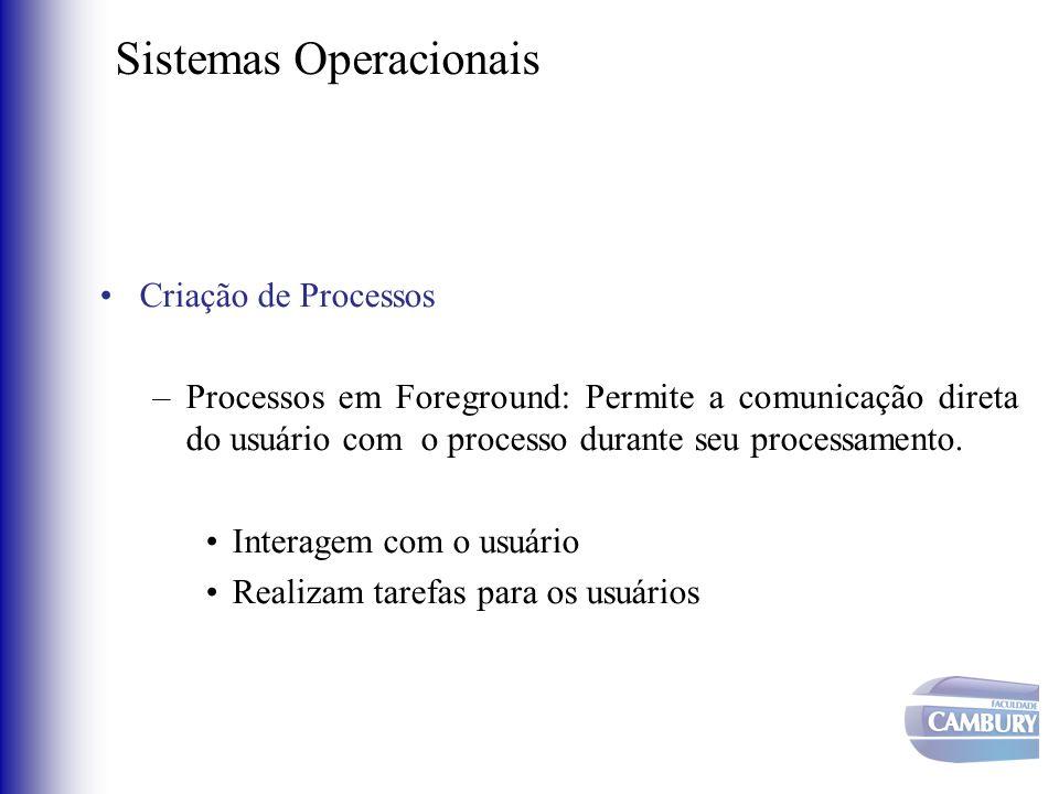 Sistemas Operacionais •Criação de Processos –Processos em Foreground: Permite a comunicação direta do usuário com o processo durante seu processamento
