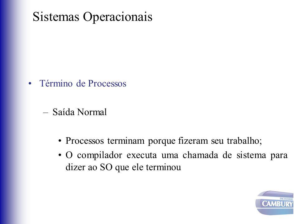 Sistemas Operacionais •Término de Processos –Saída Normal •Processos terminam porque fizeram seu trabalho; •O compilador executa uma chamada de sistem