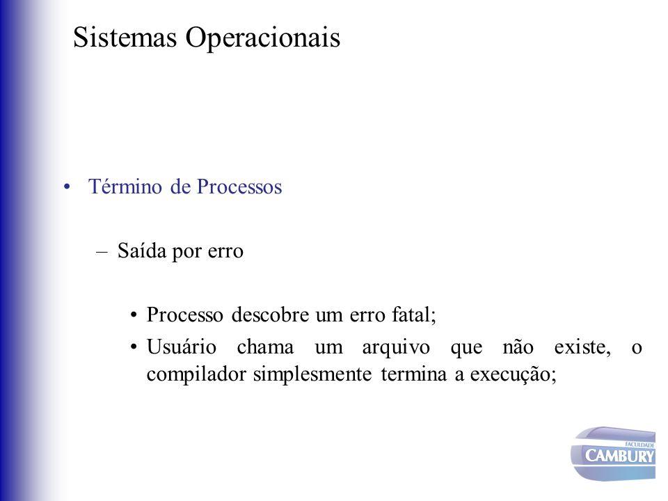 Sistemas Operacionais •Término de Processos –Saída por erro •Processo descobre um erro fatal; •Usuário chama um arquivo que não existe, o compilador s