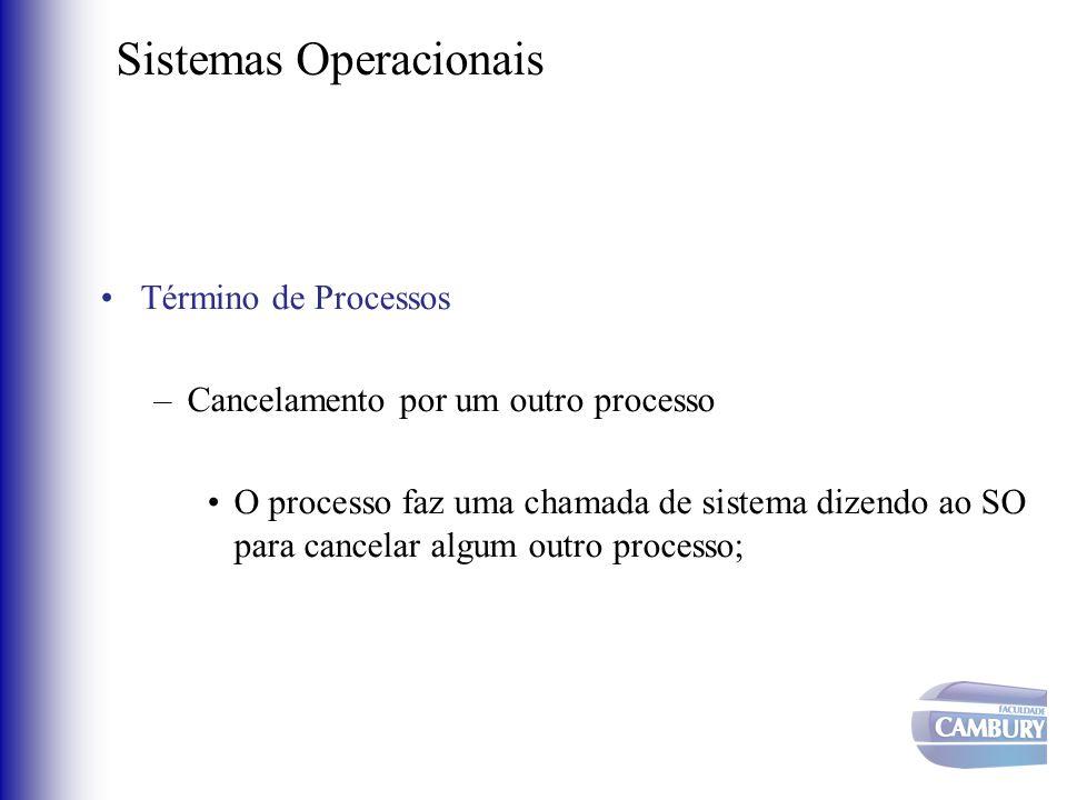 Sistemas Operacionais •Término de Processos –Cancelamento por um outro processo •O processo faz uma chamada de sistema dizendo ao SO para cancelar alg