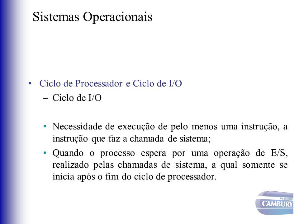Sistemas Operacionais •Ciclo de Processador e Ciclo de I/O –Ciclo de I/O •Necessidade de execução de pelo menos uma instrução, a instrução que faz a c