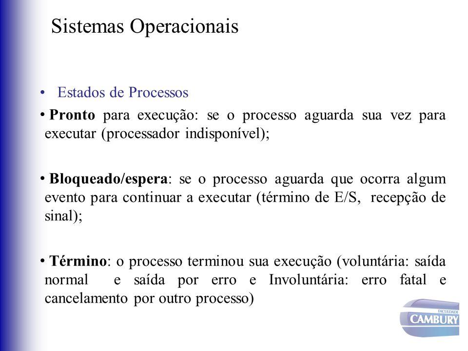 Sistemas Operacionais •Estados de Processos • Pronto para execução: se o processo aguarda sua vez para executar (processador indisponível); • Bloquead