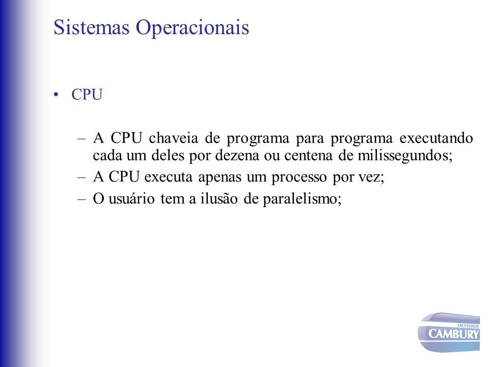 Sistemas Operacionais •CPU –A CPU chaveia de programa para programa executando cada um deles por dezena ou centena de milissegundos; –A CPU executa ap
