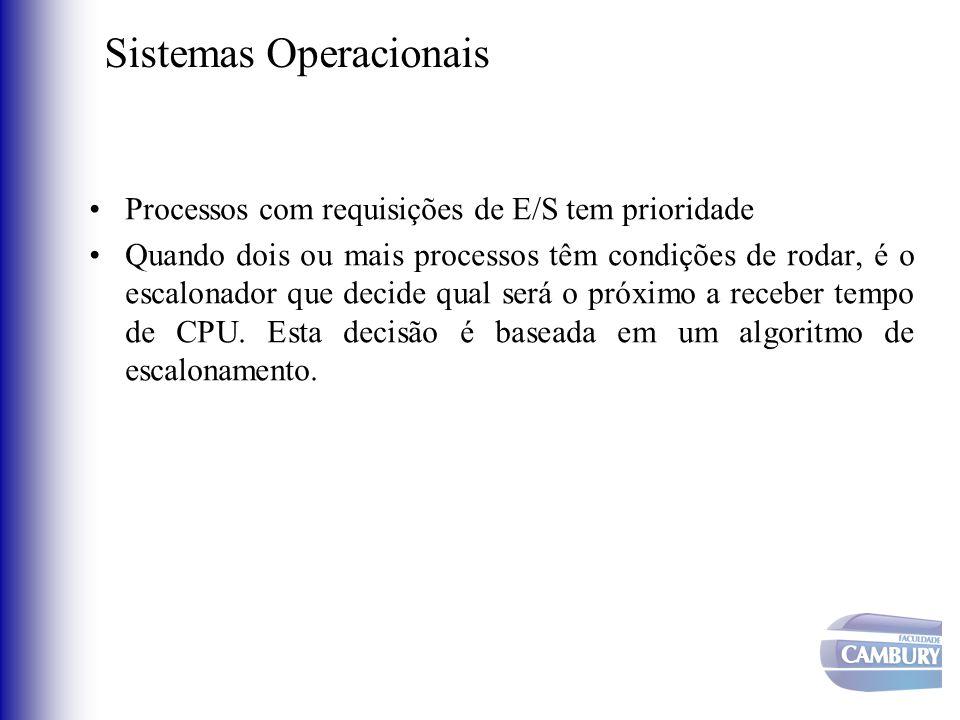 Sistemas Operacionais •Processos com requisições de E/S tem prioridade •Quando dois ou mais processos têm condições de rodar, é o escalonador que deci