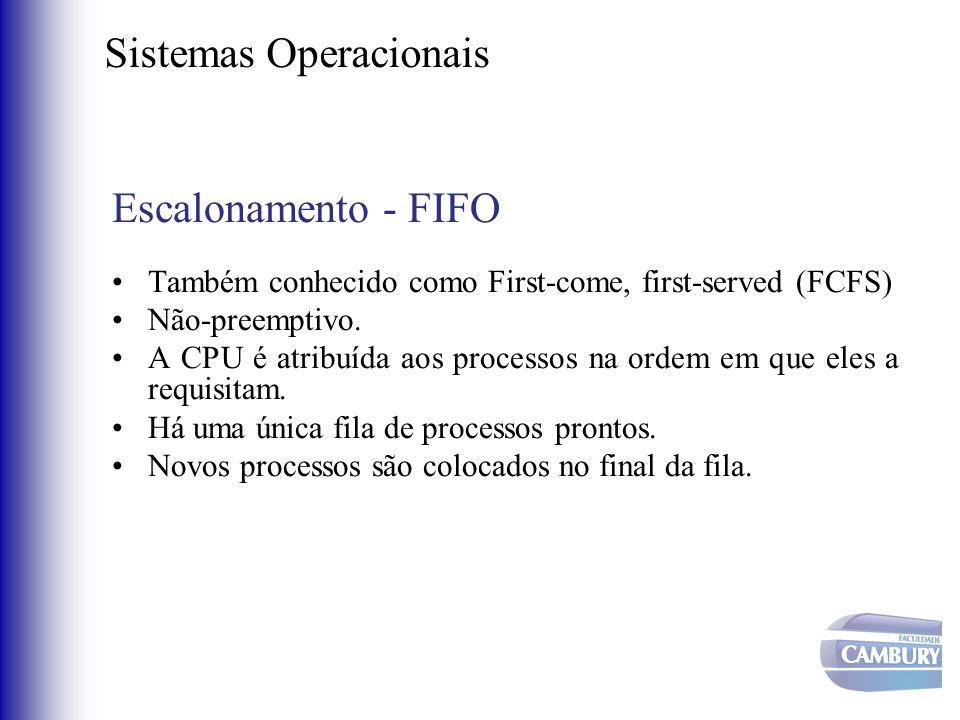Sistemas Operacionais Escalonamento - FIFO •Também conhecido como First-come, first-served (FCFS) •Não-preemptivo. •A CPU é atribuída aos processos na