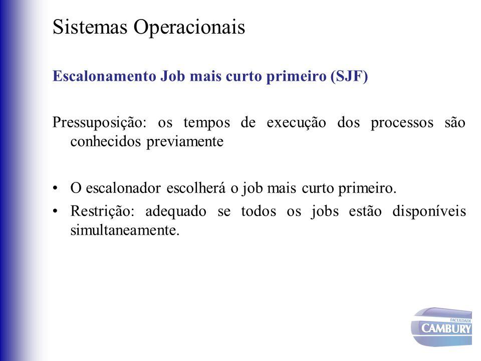 Sistemas Operacionais Escalonamento Job mais curto primeiro (SJF) Pressuposição: os tempos de execução dos processos são conhecidos previamente •O esc
