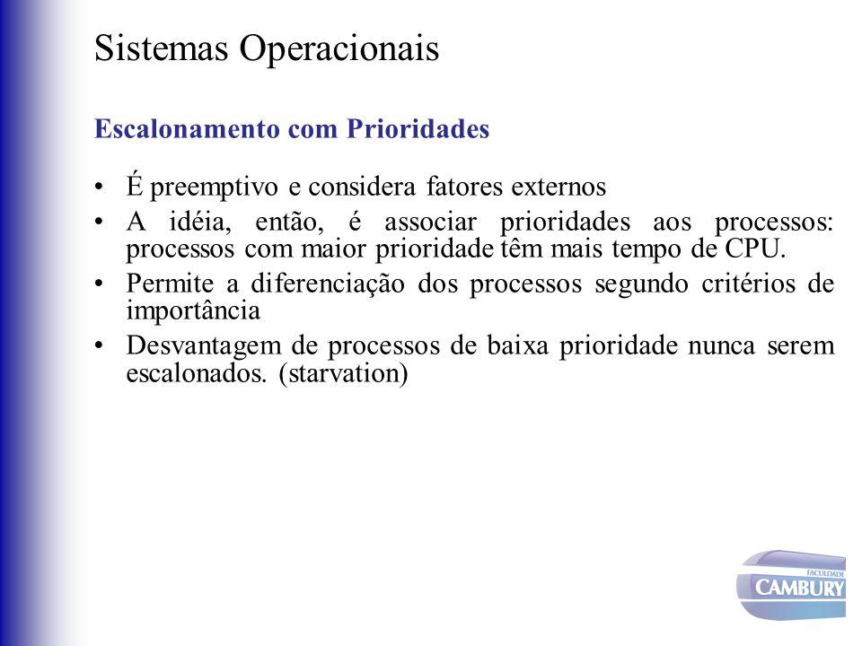 Sistemas Operacionais Escalonamento com Prioridades •É preemptivo e considera fatores externos •A idéia, então, é associar prioridades aos processos: