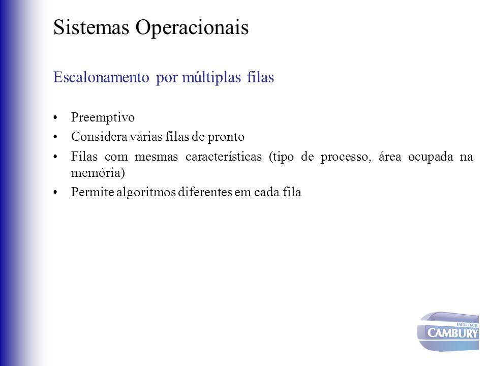 Sistemas Operacionais Escalonamento por múltiplas filas •Preemptivo •Considera várias filas de pronto •Filas com mesmas características (tipo de proce