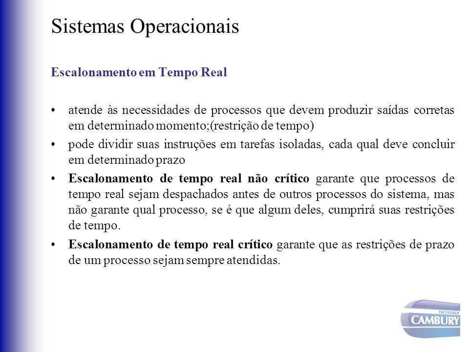 Sistemas Operacionais Escalonamento em Tempo Real •atende às necessidades de processos que devem produzir saídas corretas em determinado momento;(rest