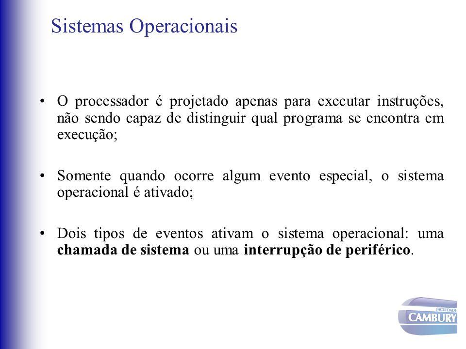 Sistemas Operacionais •O processador é projetado apenas para executar instruções, não sendo capaz de distinguir qual programa se encontra em execução;