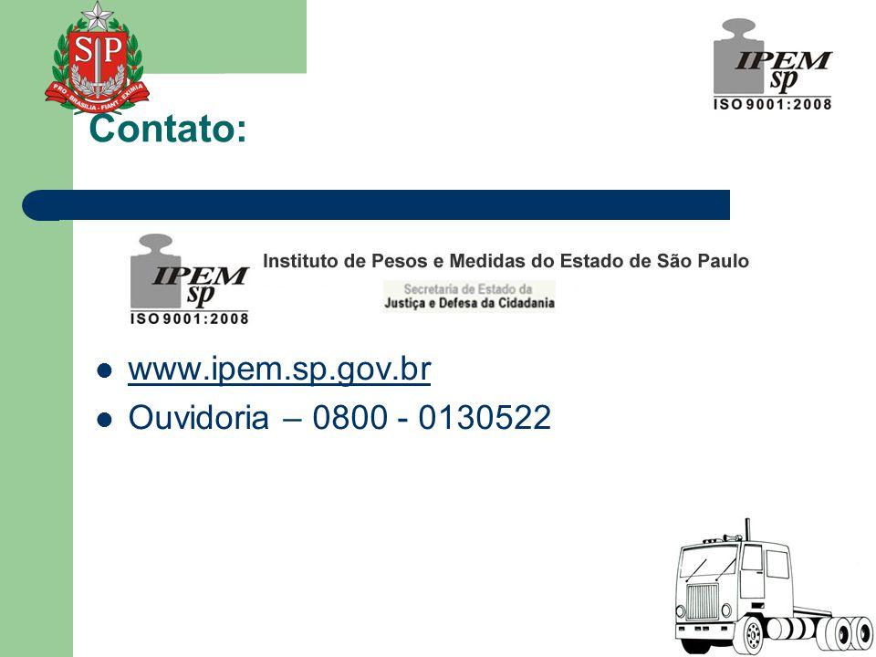 www.ipem.sp.gov.br www.ipem.sp.gov.br  Ouvidoria – 0800 - 0130522 Contato: