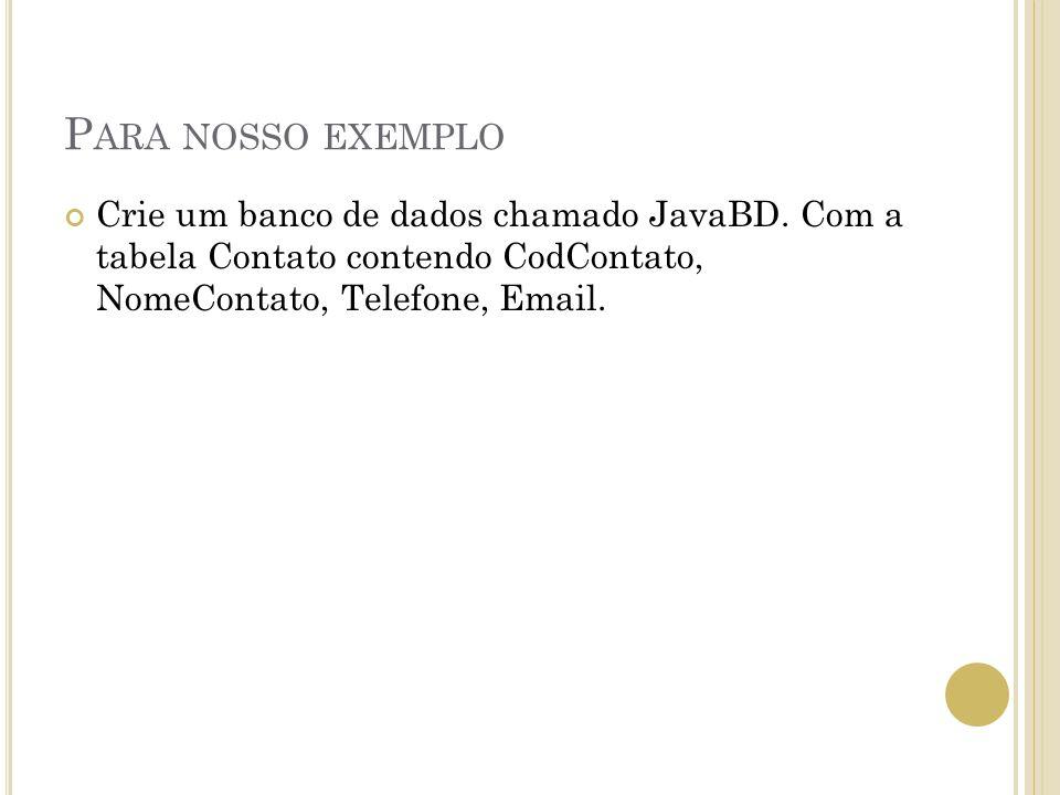 P ARA NOSSO EXEMPLO Crie um banco de dados chamado JavaBD. Com a tabela Contato contendo CodContato, NomeContato, Telefone, Email.