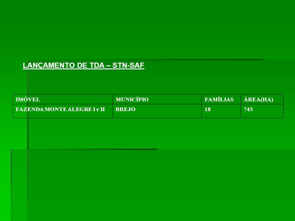 LANÇAMENTO DE TDA – STN-SAF IMÓVELMUNICÍPIOFAMÍLIASÁREA(HA) FAZENDA MONTE ALEGRE I e IIBREJO18743