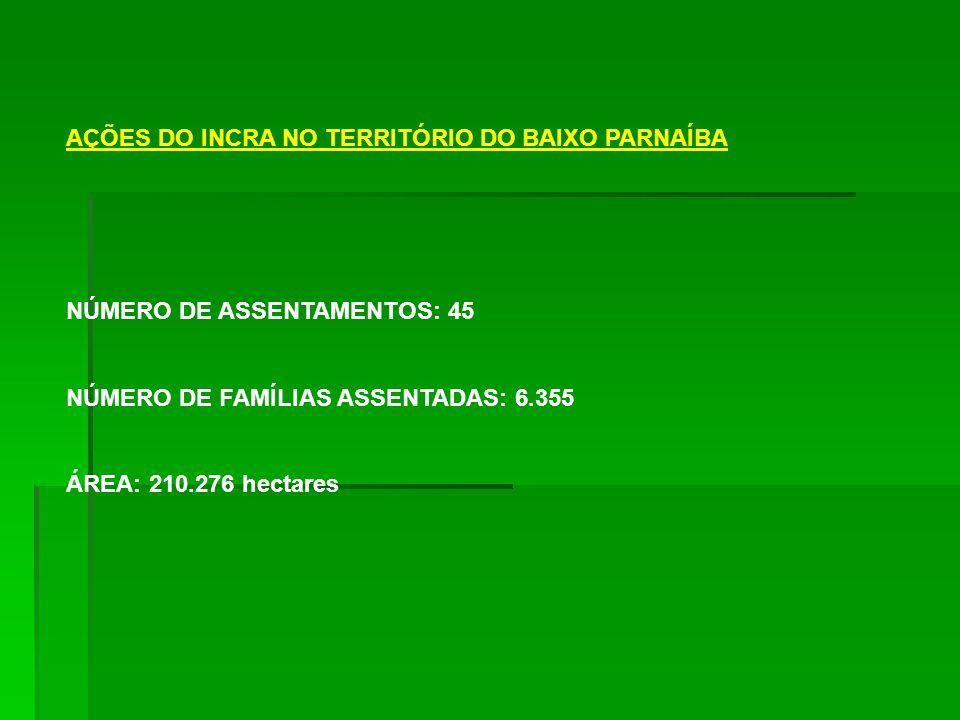 AÇÕES DO INCRA NO TERRITÓRIO DO BAIXO PARNAÍBA NÚMERO DE ASSENTAMENTOS: 45 NÚMERO DE FAMÍLIAS ASSENTADAS: 6.355 ÁREA: 210.276 hectares