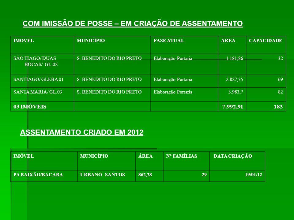 COM IMISSÃO DE POSSE – EM CRIAÇÃO DE ASSENTAMENTO IMOVELMUNICÍPIOFASE ATUALÁREACAPACIDADE SÃO TIAGO/ DUAS BOCAS/ GL.02 S.