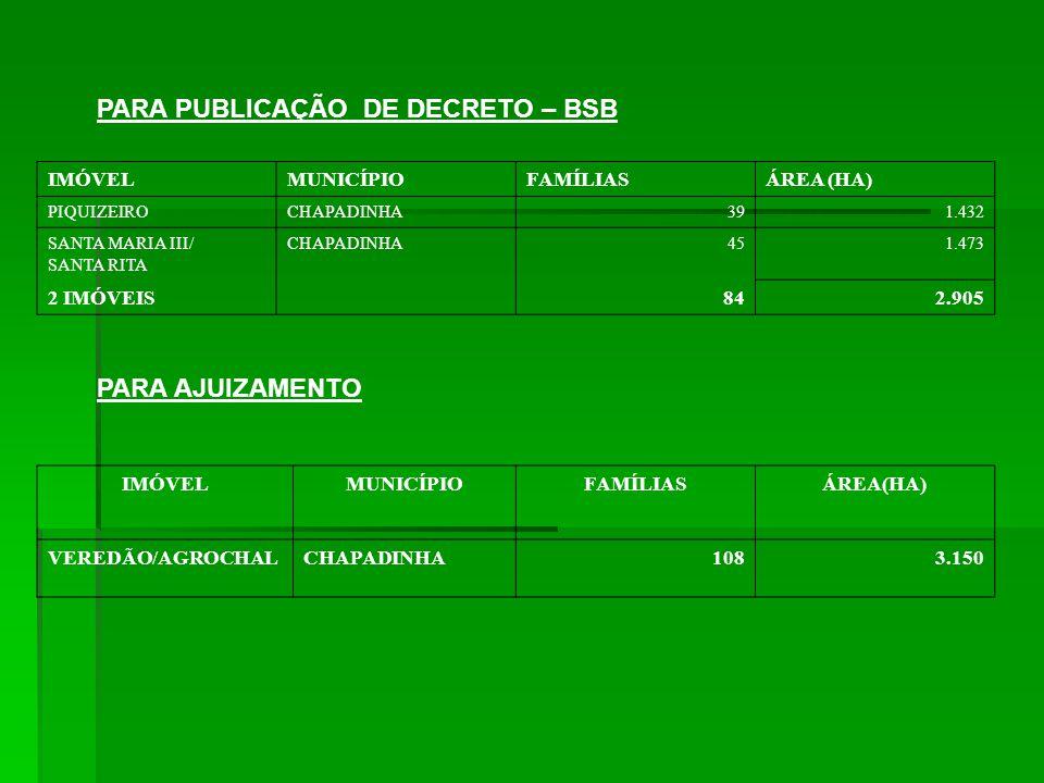 PARA PUBLICAÇÃO DE DECRETO – BSB IMÓVELMUNICÍPIOFAMÍLIASÁREA (HA) PIQUIZEIROCHAPADINHA391.432 SANTA MARIA III/ SANTA RITA CHAPADINHA451.473 2 IMÓVEIS842.905 PARA AJUIZAMENTO IMÓVELMUNICÍPIOFAMÍLIASÁREA(HA) VEREDÃO/AGROCHALCHAPADINHA1083.150