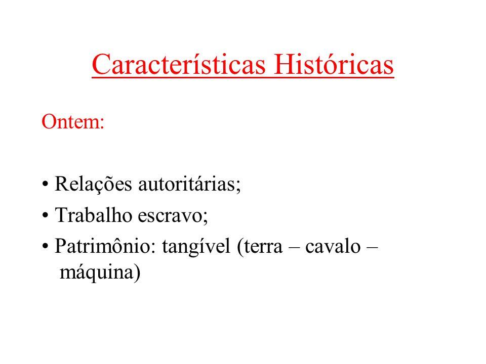 Características Históricas Hoje: • Relações: democráticas e participativas • Patrimônio: capital intangível (conhecimento – informação – tecnologia)