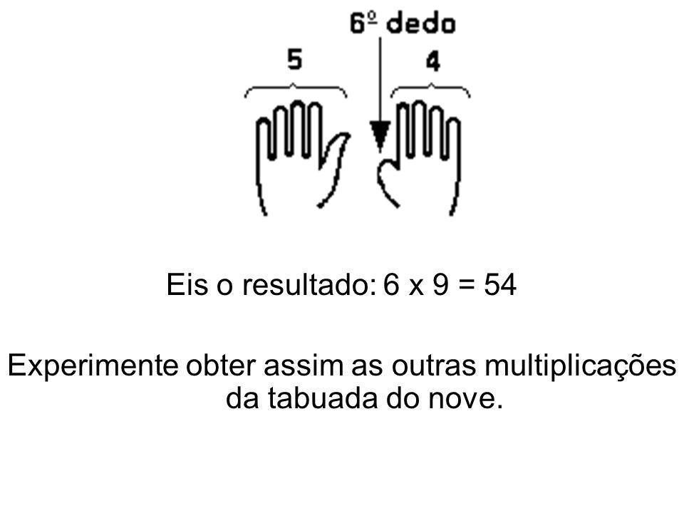 Eis o resultado: 6 x 9 = 54 Experimente obter assim as outras multiplicações da tabuada do nove.