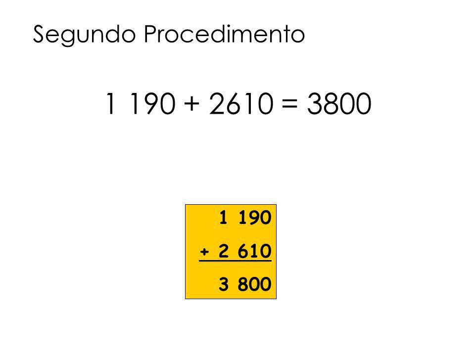 1 190 + 2 610 3 800 Segundo Procedimento 1 190 + 2610 = 3800