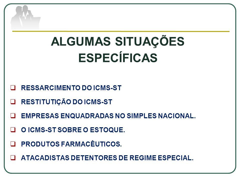 ALGUMAS SITUAÇÕES ESPECÍFICAS  RESSARCIMENTO DO ICMS-ST  RESTITUTIÇÃO DO ICMS-ST  EMPRESAS ENQUADRADAS NO SIMPLES NACIONAL.