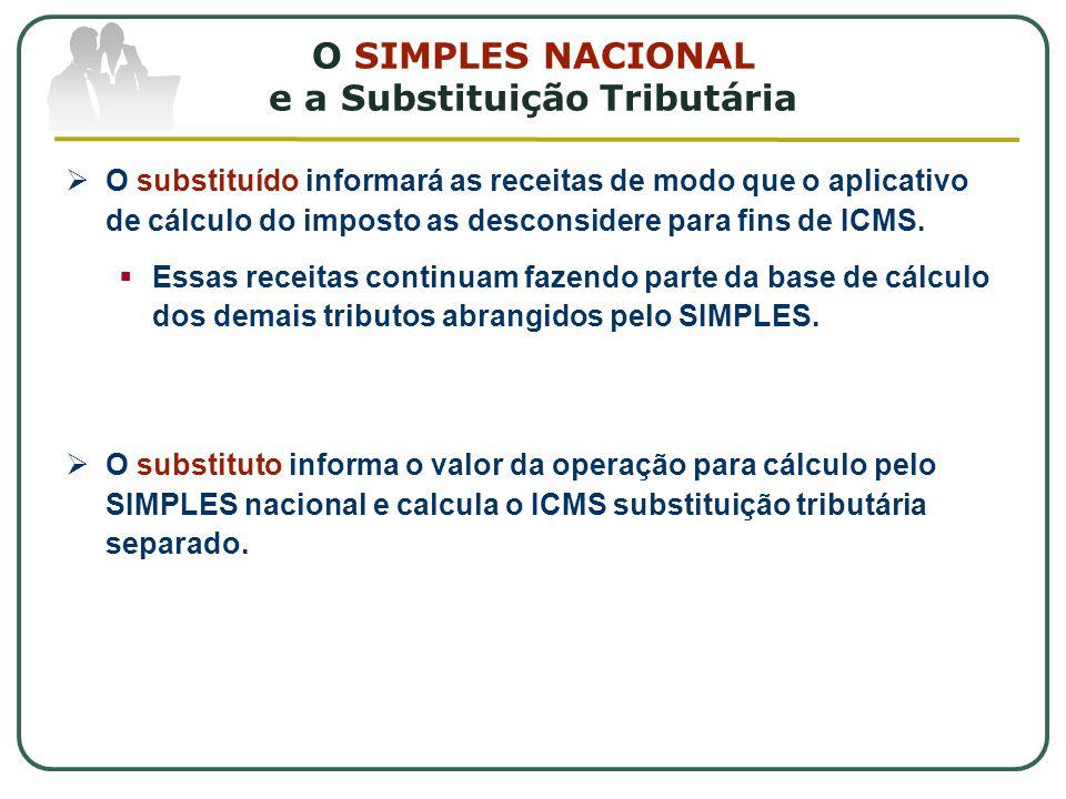 O SIMPLES NACIONAL e a Substituição Tributária  O substituído informará as receitas de modo que o aplicativo de cálculo do imposto as desconsidere para fins de ICMS.