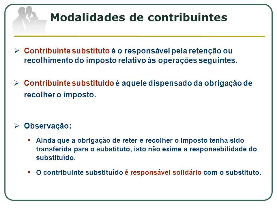 Modalidades de contribuintes  Contribuinte substituto é o responsável pela retenção ou recolhimento do imposto relativo às operações seguintes.