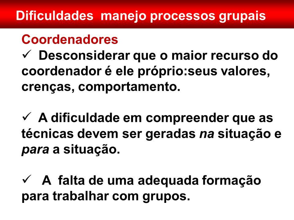 Dificuldades manejo processos grupais Coordenadores  Desconsiderar que o maior recurso do coordenador é ele próprio:seus valores, crenças, comportame